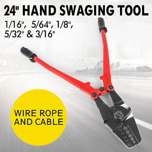 24 Hand Swager Cable Wire Rope Cutter Swage 1 16 3 32 1 8 5 32 3 16 Sleeve