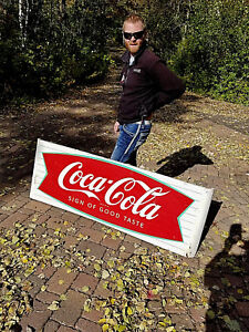 Vintage Early RARE Coca Cola Soda Pop Metal Fishtail Sled Sign Coke 68X24 WOW!