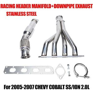 Stainless Racing Header Manifold Downpipe Exhaust For 05 07 Chevy Cobalt Ss Ion