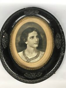 Antique Elegant Dark Oval Gold Gesso 14 5 Wood Frame Glass With Photo