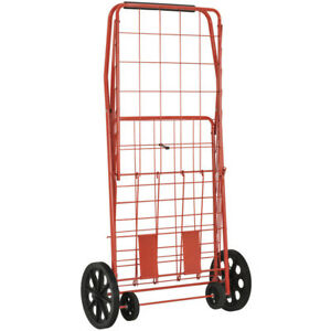 Wire Shopping Cart Red Rolling Basket Folding Grocery Wheels Utility Trolley Kit