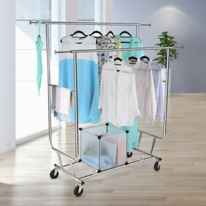 Collapsible Adjustable Double Rail Rolling Garment Rack Clothes Hanging Rack Us