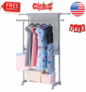 Adjustable Double Rail Garment Rack With 2 Swing Arm Holders And 4 Casters Us