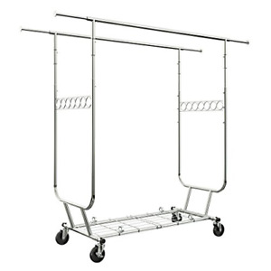 Langria Heavy Duty Rolling Commercial Double Rail Clothing Garment Rack With Max