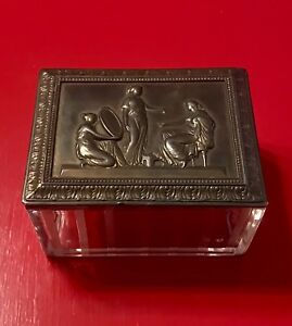Antique Jennings Brothers Glass Dresser Box With Figures Inscribed On Brass Top
