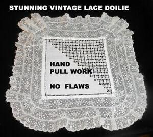 Pretty Vintage Lace Doilie Or Handkerchief With Pull Work No Flaws