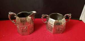 Vintage Copper Silver Plated Open Sugar Bowl 2 75 Creamer 3 25