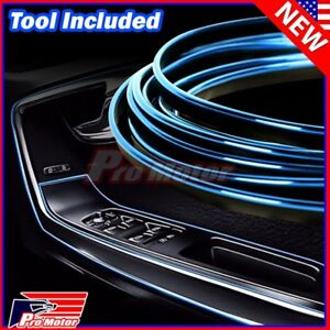 Chrome Blue Car Interior Door Gap Panel Edge Insert Molding Trim Strip Decorate