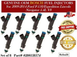 8 Fuel Injectors Oem Bosch 09 14 Ford F 150 Expedition Lincoln Navigator 5 4l
