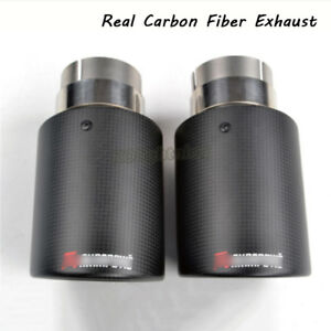 Universal Exhaust Tail Pipe Real Carbon Fiber Muffler End Tips For Car Suv 63mm