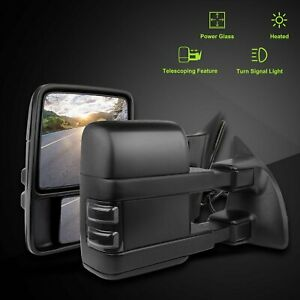 Power Heated Smoke Turn Signal Light For 99 07 Ford F250 Superduty Tow Mirrors