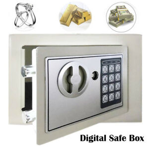 Digital Steel Safe Electronic Locking Strong Money Cash Box Key Security Whitema