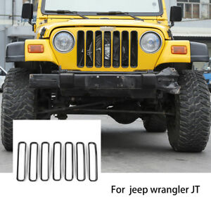 Black Front Grill Inserts Trims Kit Fit 1997 2006 Jeep Wrangler Tj Unlimited