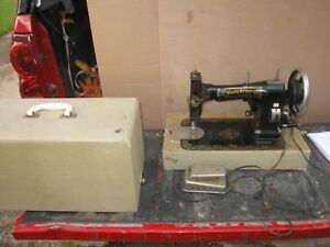 Vintage White Rotary Sewing Machine With Case