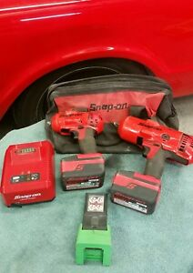 Snap on 18v Lithium Cordless Impact Wrench Set 3 8 Ct8810a 1 2 Ct8850 Led Lamp