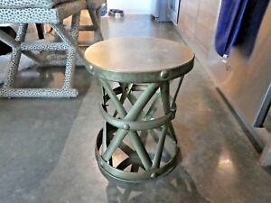 70 S Mcm Brass Crisscross Stool Or Occasional Drum Side Table
