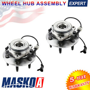 2 X Front Wheel Hubs Bearings Pair Set W Abs For Chevy Gmc Truck 4x4 4wd