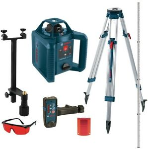 Bosch 800 Ft Self Leveling Rotary Laser Level Kit Indoor outdoor 5 Piece