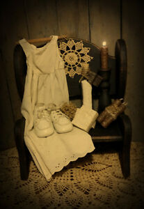 Primitive Gathering Bench Baby Dress Baby Shoes Soap Powder Candle Stick Candles