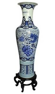 Large Chinese Porcelain Blue And White Vase In 54 High Hand Painted Dragon