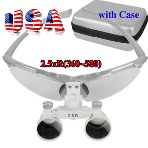 Dental Surgical Medical Binocular Loupes 2 5x R 360 580mm Magnifier case