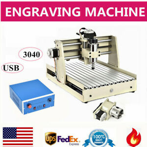 4 Axis Usb Cnc Router 3040 Engraver Drilling Desktop Mill Cut Machine 400w Vfd
