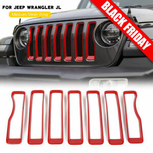 7pcs Front Grille Grill Insert Cover Trim For 2018 2019 Jeep Wrangler Jl Rubicon