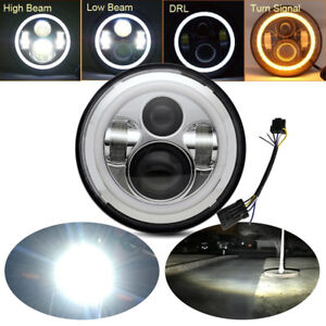 7 Round Motorcycle Projector Hi low Led Headlight For Harley davidson
