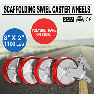 Set Of 4 Plate 8 Polyurethane Scaffolding Casters Wheels Factory Direct Great