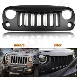 For 2007 2018 Jeep Wrangler Jk Grill Grille Angry Bird Front Hood Black