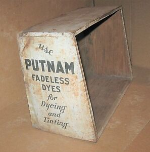 Early To Mid 1900s Putnam Dyes General Store Counter Top Display Cabinet