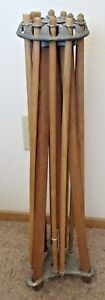 1920 S Folding Wooden Clothes Dryer Farm Country Decor Linen Display 12 Spindles