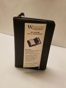 Vintage Winslow Zip round 5x8 small Business Organizer New old Stock Blk