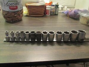 Snap On 1 2 Drive 6 12 Point Sae Shallow 13 Pc Socket Set 3 8 1 1 8