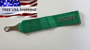 Green Takata Tow Strap Hook Universal Fit Jdm With Bolt
