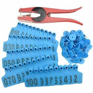 Wgcd 1 100 Number Plastic Livestock Blue Cow Cattle Ear Tag Animal Tag And 1 Pcs