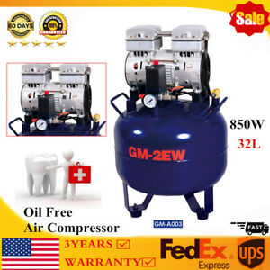 Dental 32l Air Compressor Silent Quiet Noiseless Oil Free Oilless 850w Professio