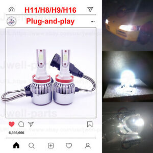 New 2x H8 H9 H11 H16 8000k Ice Blue 8000lm Cree Led Headlight Bulbs Kit Low Beam