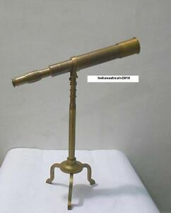 Vintage Nautical Full Brass Antique Finish Nautical Telescope On Tripod