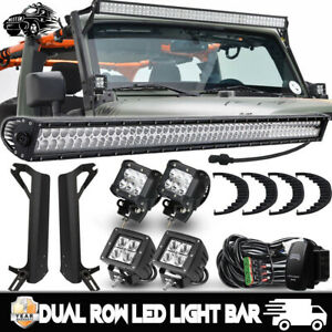 50 700w Led Light Bar 4x 3 Cree Pods Offroad For 1997 2006 Jeep Wrangler Tj