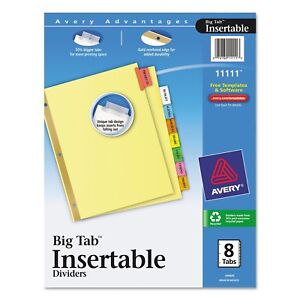 Avery Worksaver Insertable Tab Index Divider 8 Tab best Price service