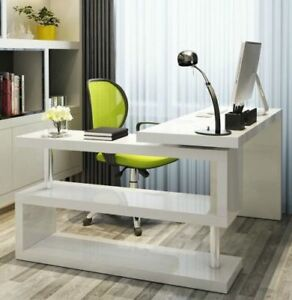 White Corner Computer Desk Writing Executive Space Saver Study Office Shelves