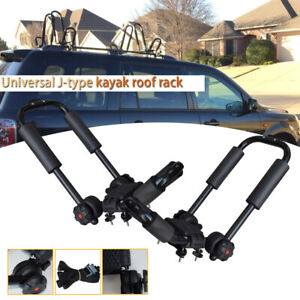 2 Universal Car Suv Roof Rail Luggage Rack Baggage Carrier Cross Aluminum Black