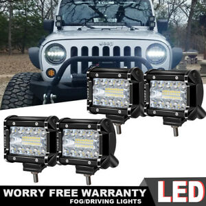 4pcs 4 Inch Cree Led Work Lights Pod Spot Flood Combo Jeep Offroad Driving Light