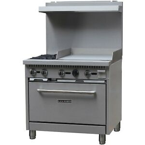 New Free Shipping Commercial Kitchen 2 Burner Natural Gas Range With 24 Griddle