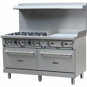 New Free Shipping Commercial Kitchen 6 Burner Natural Gas Range With 24 Griddle