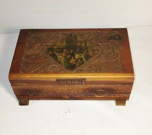 Vintage Cedar Chest Trinket Box Carved W Hinged Lid Classical Scene Top Footed