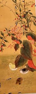Chinese Old Painting Of Chick Lings On Silk And Paper