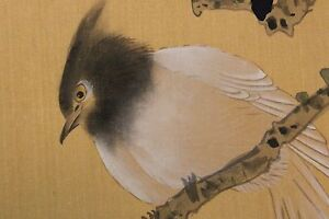 Chinese Painting Of White Bird With Black Head On Silk And Paper