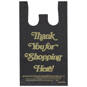 Thank You T shirt Bags In Plastic With Black 10 W X 5 D X 18 H 1000 Bags